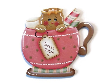 Ginger in Cocoa Mug Ornament or Fridge Magnet, Handpainted Wood Gingerbread Refrigerator Magnet, Hand Painted Ginger, Tole Painting