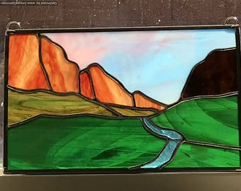 Evening in Zion National Park Stained Glass Panel