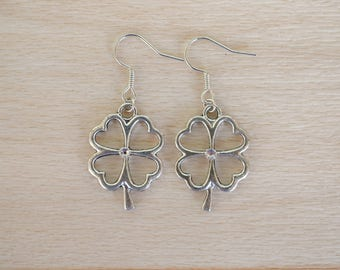 Silver Clover Earrings - Good Luck Jewelry - Irish Earrings - Handmade Jewelry - Four Leaf Clover Dangle Earrings - Nature Jewelry