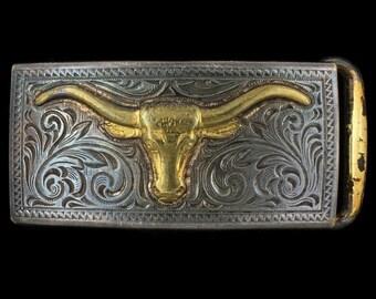 Vintage Longhorn Steer Cattle Skull Rancher Cowboy Western Belt Buckle