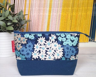 Zip bag with zipper-pouch with zipper-blue cosmetic bag-bag with base