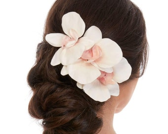 Bridal Hair Piece - Floral Hair Piece - Orchid Hair Piece- Orchid Hair Comb - Orchid Hair Clip -  White Silk Orchid - Real Touch Orchids