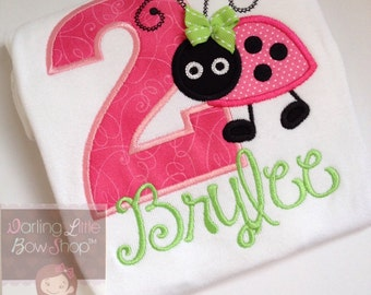 Ladybug Birthday Bodysuit or Shirt  -- Little Lady - Hot Pink, lime green and black ladybug - personalized bodysuit or shirt
