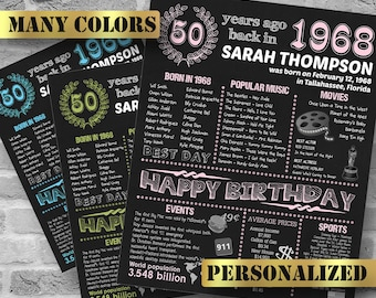 1968, Personalized 50th Birthday Poster, Born in 1968, Chalkboard Poster, Personalized Gift, 50 Years Ago, Printable DIGITAL FILE, JPG