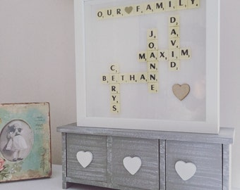 Scrabble Wall Art - Scrabble Frame - Scrabble Word Gift - Scrabble Picture - Personalised Gift Frame