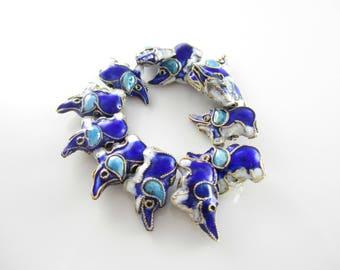 Blue Puffy Enamel Wire Elephant Beads Blue Elephant Enamel Beads Blue Silver Wire Enamel Beads 19x13mm (1 pc) 2V35