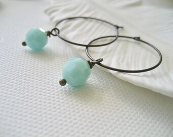 Hoop Earrings with Crystals, Mint Earrings, Mint Blue Crystal Earrings, Hoop Earrings with Dangling Swarovski Crystal Beads, Gifts For Her