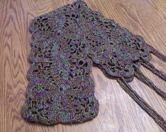 Chic Scarf Crochet Blue Heron Yarn Rayon Metallic Yummy