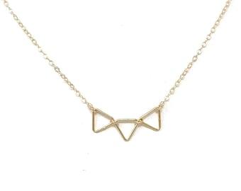 Tiny Triangle Necklace - Minimalist Jewelry - Geometric Necklace - Gold or Silver Triangle necklace