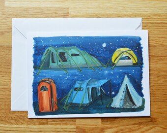 A5 modern tents design greetings card
