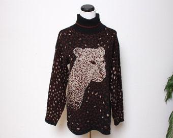 VTG 80s Novelty Cheetah Brown & Black Sweater M/L