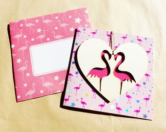 greeting card with flament rose in a wooden heart and rose luxury card hooden flamingo hanger with matching envelope and shining star