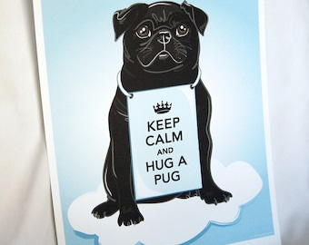 Keep Calm Black Pug on a Cloud - 8x10 Eco-friendly Print