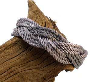 Turk's Head Bracelet, Nautical Knot Armband, Sailor Bracelet, Sailor Knot Armband, Turkshead Bracelet (Pearl Grey)