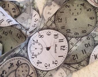 Hand Frayed Fabric Trim/Paris Country Ribbon/Handmade Fabric Ribbon/Paris Chic Ribbon/Timepiece Fabric Trim/Clock Fabric Trim/Clock Ribbon