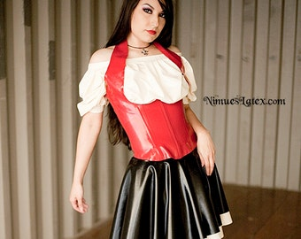 Latex Bar Maid Outfit.  Includes corset, blouse and skirt.