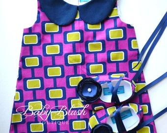 Purple Geometric Dress/Shoes Set