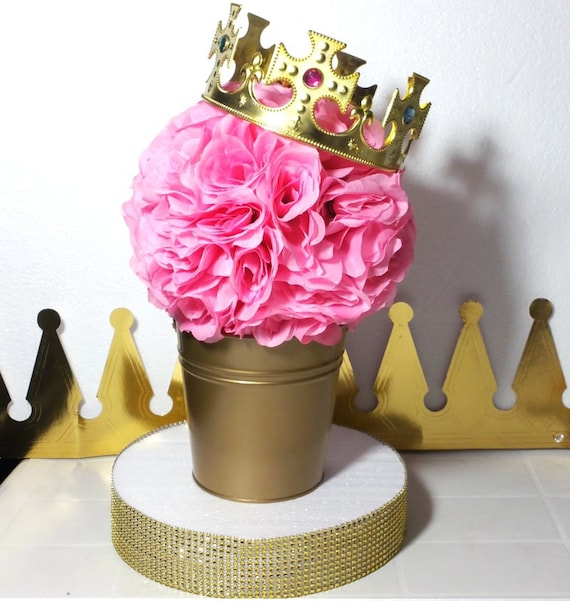 Captivating FLOWER PAIL Royal Princess Baby Shower Table Centerpiece /