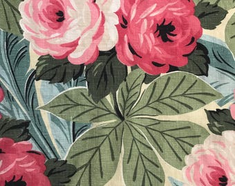 "Vintage Barkcloth Fabric Panel - 139"" x 16-1/2"" -  Pillows or Valance"