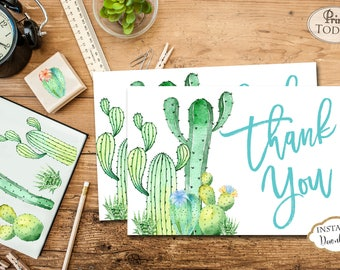 INSTANT DOWNLOAD - Cactus Southwest Thank You Card - Cactus Thank You Note - Thank You - Southwest - Succulent - 0551 0552 0553 0554
