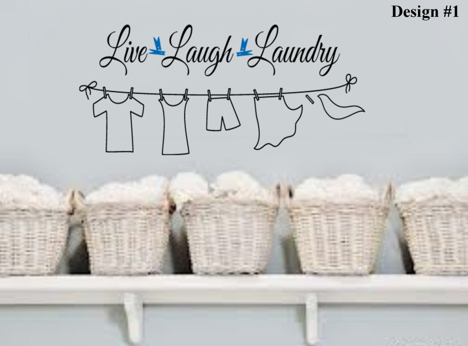 Laundry Room Wall Words Live Laugh Laundry Clothes Line Vinyl Wall Lettering Quotes