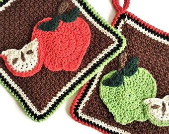 Apple Themed Potholder Set, Two Double Thick Crocheted Cotton Pot Holders, Crochet Oven Mitt Set