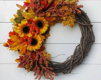 Sunflower Wreath with Autumn Leaves on Grapevine | Fall Floral Wreath | Red Orange and Yellow Wreath | Fall Front Door Wreath