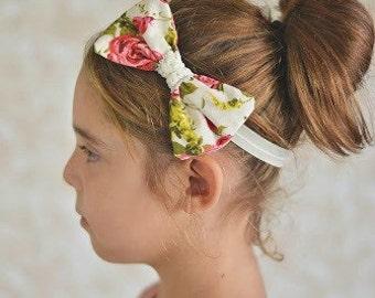 Floral Roses Fabric Bow Headband - Newborn Infant Baby Toddler Girls Adult Wedding Flower Girl Secret Garden