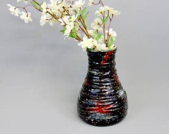 Galaxy Vase. Handmade Stoneware Statement Pottery. Swirl Textured Ceramic Vase with Gold Luster Stars