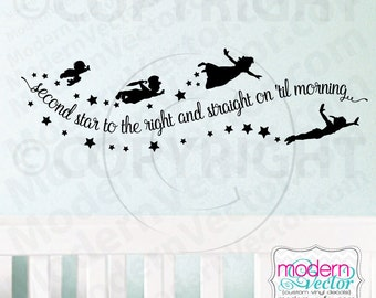 Peter Pan Second Star to the Right and Straight on til Morning Quote Vinyl Wall Decal Lettering Nursery with Stars Wendy