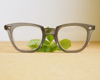 Vintage Eyeglasses sellestorm 1970s/Glasses/Safety Glasses/Made in USA/hipster/Frames Made In USA Smokey green New Old Stock