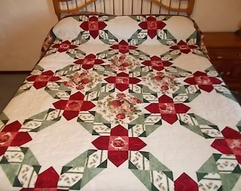 Queen Hand Quilted Rose Floral Quilt