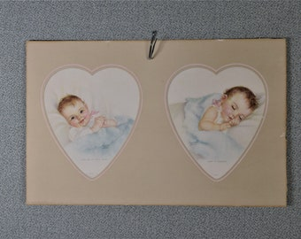 Vintage Print Land of Dreams Baby Heart Shape