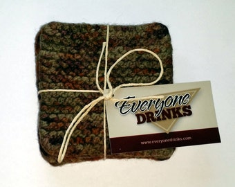 Hand Knit Felted Wool Coasters, Set of 4, Mug Rugs, Beverage Coaster, Tea Drinker gifts, Coffee Drinker Gift, Coasters for Drinks