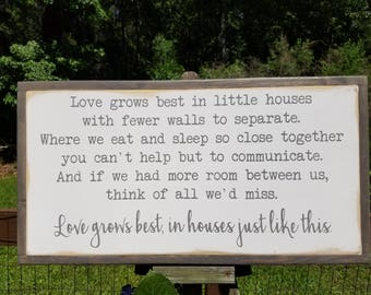 Love Grows Best In Little Houses Framed Sign 1'x2' Ready To Ship Magnolia Market handpainted Rustic Housewarming
