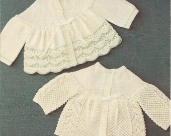 "PDF Knitting Pattern Prem Baby Patterned Matinee Coat/Jackets to fit sizes 12-18"" (X207)"