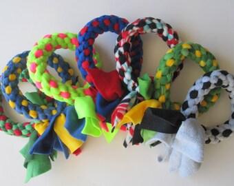 FREE SHIP Fleece dog tug chew fetch ring toy