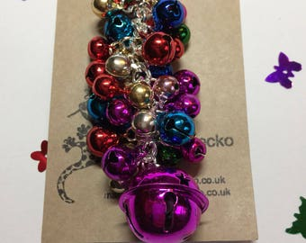Jingle Bell Bag Charm - Bag Guardian - Pink and Multi coloured -gift for her -gift for teenager -noisy bagcharm -sleigh bells - Mother's Day