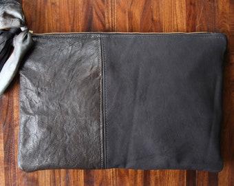 MINERAL Clutch leather handmade graphite brown black tassel small bag zipper purse grey kate