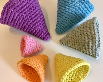 pastel roygbiv montessori inspired cone nesting bowls made from upcycled t-shirt yarn.