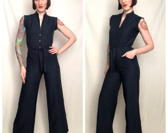 Vintage 1970's Navy Blue Fitted Curve Hugging Hourglass Figure Wide Leg Palazzo Pants Bellbottom Jumpsuit - size Small Medium