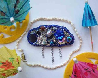 Brooch cloud of  hand embroidery of the beadwork Costume jewelry Romantic gift Beaded Brooch