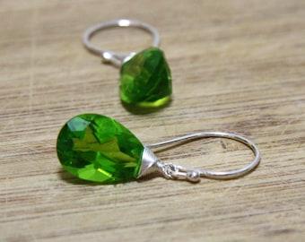 Parrot Green Peridot Gemstone Drop Dangle Earring Solid Sterling Silver August Birthstone