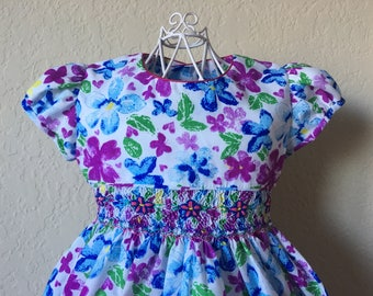 Size 2 Hand Smocked Girls' Dress - Purple and Blue Floral Print