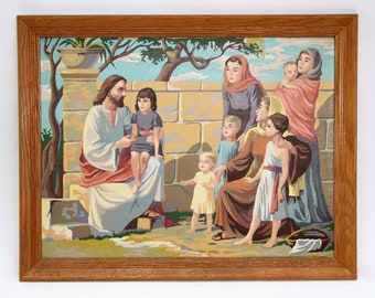 Vintage Paint By Number Jesus With Children and Women In Oak Wood Frame