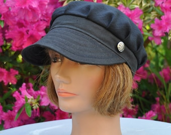 Hat, slouchy shape in linen and black cotton, handmade - size M 55 cm