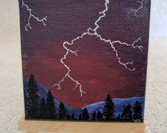 Lightning at Dusk Mini Painting Gift, Magnet, Ornament, Sky, Mountains and Trees