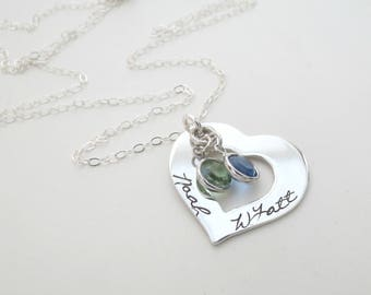 Custom Heart Necklace with Birthstone - Personalized Jewelry - Kids Names - Mothers Necklace - Grandma - Family - Son - Daughter - Grandkids