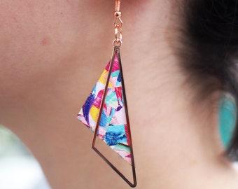rose gold earrings, colourful earrings, statement earrings, rose gold jewelry, rose gold jewellery, geometric jewellery, geometric earrings
