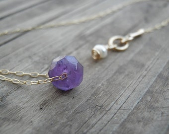 Bridesmaid gift Tiny Natural Faceted Amethyst, Purple Amethyst Jewelry, Gold Amethyst Necklace, Minimalist Gift For Her, February Birthstone